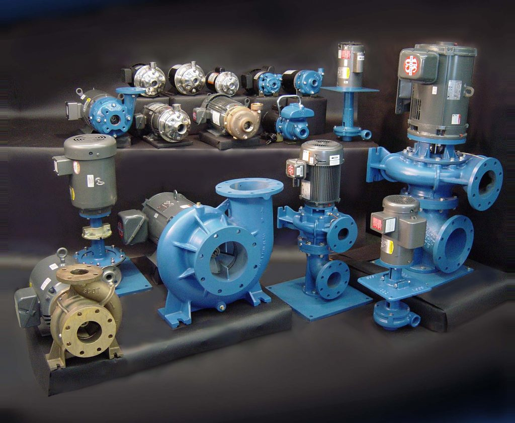 A collection of centrifugal pumps manufactured by Scot Pump